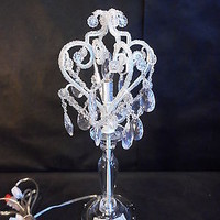Tadpoles Table Lamp Chandelier in White Diamond