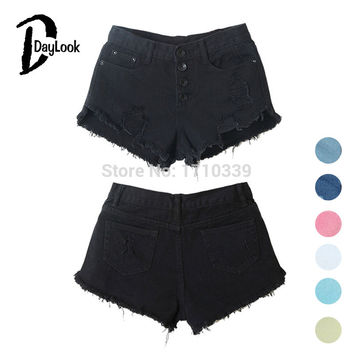 DayLook 2016 Summer Black High Waist Button Ripped Denim Shorts mini Hot Denim Shorts Jeans New Women Fashion free shipping