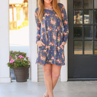 A Little Love Floral Dress - Navy
