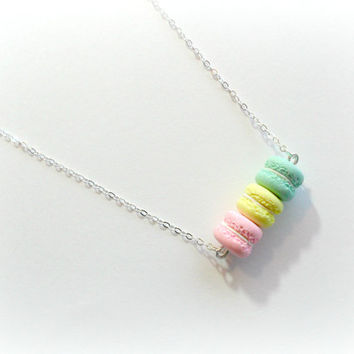 Macaron Trio Necklace, Sterling Silver .925 Necklace, Kitsch Tiny pastel Macaroons, Cute And Kawaii :D