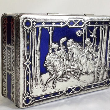 Vintage Rileys Toffee Tin Blue and Silver Embossed Falconers Riding Horses Cobalt Blue Silver Storage Tin Renaissance Themed Stash Tin Box