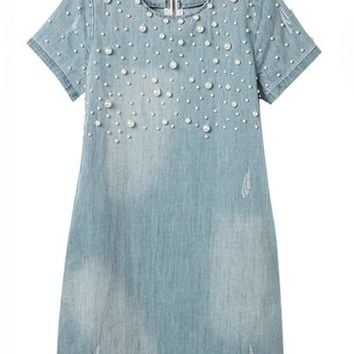 Light Blue Plain Beading Fashion Denim Dress
