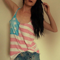 Boho Vintage American Flag tunic OR Crop Top