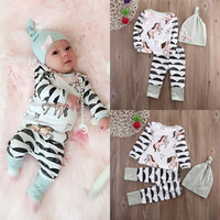 Autumn NEW Cute Newborn Baby Boys Girls Horse long sleeve Tops +Long Pants Hat Outfits 3PCS Set Clothes