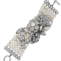 Betsey Johnson Silver-Tone Crystal Flower and Faux Pearl Multi-Row Toggle Bracelet