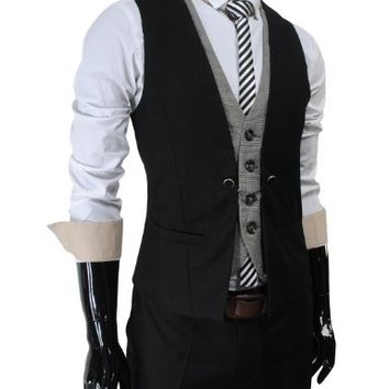 VE34 TheLees Mens premium layered style slim vest waist coat