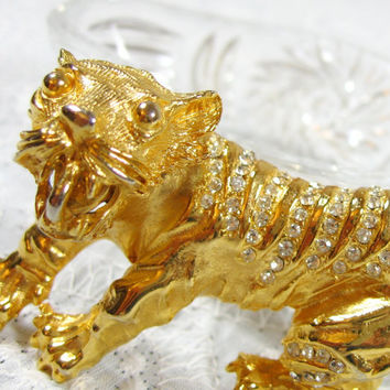 Vintage Figural Brooch / Pin, Huge Asian Tiger, Pave Rhinestones / Clear Crystals, Gold Tone, 1980s Animal Novelty Jewelry