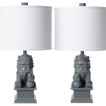 Mini Foo Dog Table Lamp Set, Gray, Table Lamps