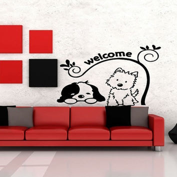 Room Wall Vinyl Sticker Decals Mural Design Funny Family Pet Dogs Welcome Quote Sign 867