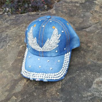 women black blue color  denim jeans cloth made Artificial stones bling bling   Angel wings baseball caps