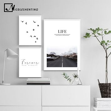 Scandinavian Landscape Canvas Wall Art Motivation Poster Print Road Life Quote Minimalist Painting Nordic Decoration Picture