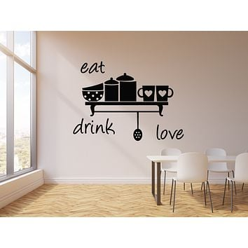 Vinyl Wall Decal Kitchen Decor Home Eat Drink Love Cups Cafe Stickers Mural (g773)