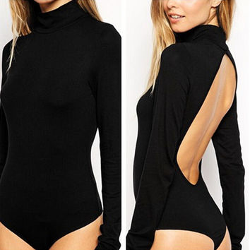 Long Sleeve High-Necked Backless Jumpsuits