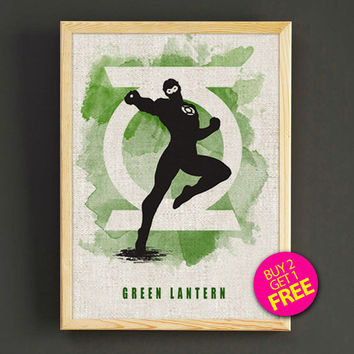 Green Lantern Justice League Watercolor Art Print Superhero Poster House Wear Wall Decor Gift Linen Print - Buy 2 Get 1 FREE - 45s2g