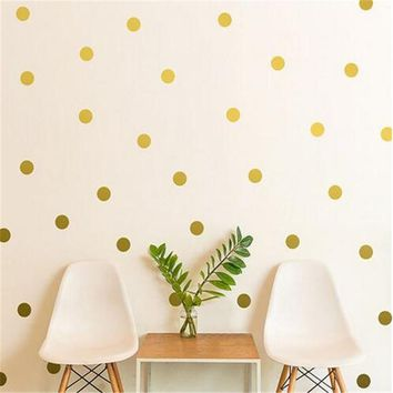 New Arrival Gold Polka Dots Wall Sticker Baby Nursery Stickers Kids Room Golden Polka Dots Decor Room Party DIY Decor Supplies
