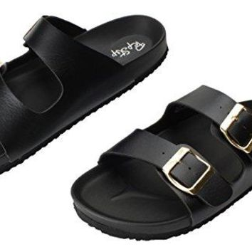 Pepstep Buckle Strap Sandals for Women Super Lightweight and Comfortable GoldenBlack Womens Footbed Slide Sandals