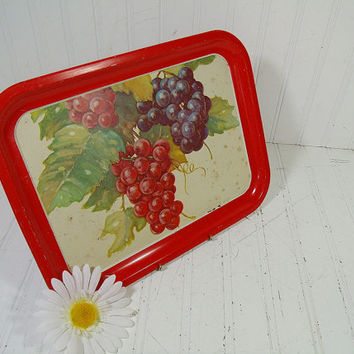 Vintage Red Trim Grape Litho Enamel Litho Metal Tray - Retro Vintner Bouquet ToleWare Decorative Tin Platter - Shabby BoHo Bistro Display