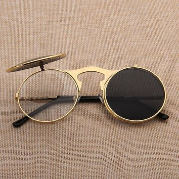 Unisex Clip On Steampunk Sunglasses Men Women Hippy Vintage Men's Retro Round Sun Glasses Fit Over Black Gothic Goggles Party