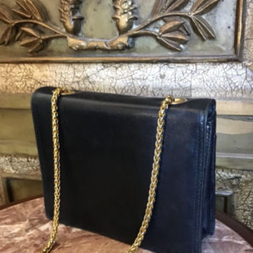 Navy Leather Gold Chain Shoulder Bag PRESWICK & MOORE