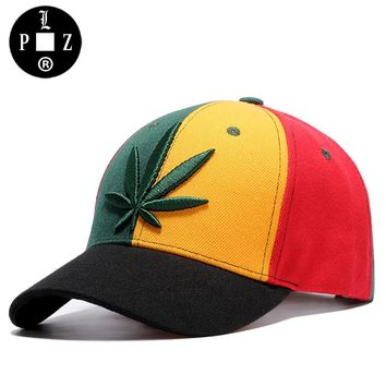 [PLZ] 2017 Fashion Weed Leaves Baseball Cap Hiphop Swag Hats Patchwork Jamaica Flag Color Sun Hat BBoy Rap Cap 56-60cm k337