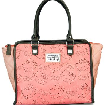 """Hello Kitty Perforated"" Fashion Tote Handbag by Loungefly (Pink)"