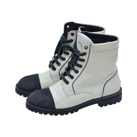 Vintage Chanel Motorcycle Combat Boots Size 38