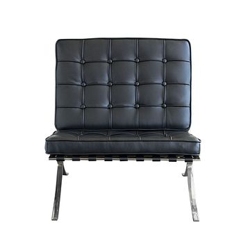 Cordoba Tufted Chair w/ Stainless Steel Frame - Black