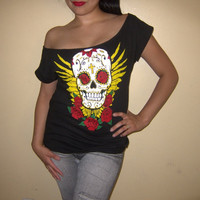 Women Tshirt Custom Altered Diy Day Of The Dead - Dia De Los Muertos Sexy Tunic T shirt Top