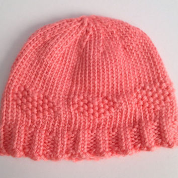 Baby Hat Strawberry Pink Handknit in Heart by MadebyMegShop