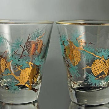 Pinecone Cocktail Glasses Libbey David Douglas Set of 2