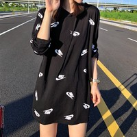 Nike Hooded Casual Couple Simple Letter Print Drawstring Long Sleeve Solid Color Cotton Sweater
