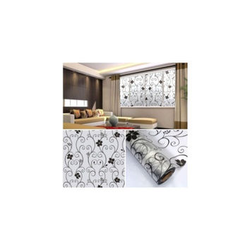 45x100cm Frosted Glass Window Black Floral Flower Sticker Film Decor [8045589511]