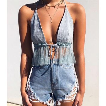 Blue Mesh Flare Front Tie Crop Top