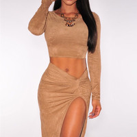 2pcs Midnight Faux Suede Knotted Skirt Set