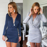Winter Sexy Knit Long Sleeve V-neck One Piece Dress [6338691652]