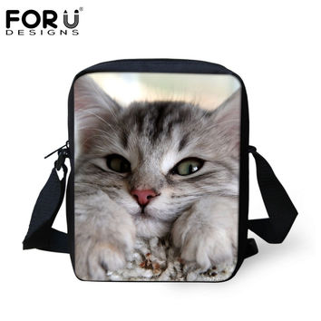 FORUDESIGNS Super Cute Women Messenger Bags Russian Cat Printed Ladies Causal Cross Body Sling Shoulder Bags Crossbody Bag 2016