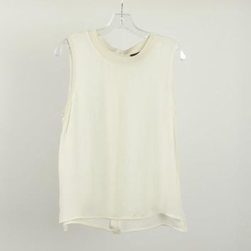 Theory Ivory Sleeveless Silk Top Blouse Tank Ribbed Neck Size M