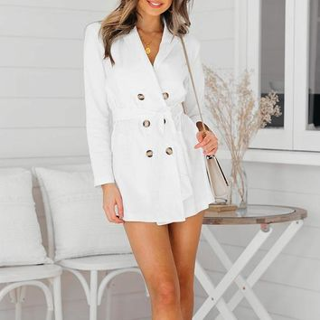 Glamaker Sexy button belt white female coat Women deep v neck elegant party daily long trench Autumn fashion casual outwear new