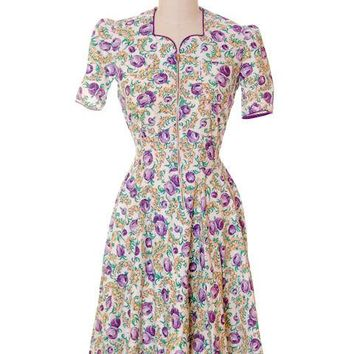 Vintage Cotton Printed Day House Dress Purple Floral Zip Front Early 1940s 38-30-Free