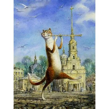 frameless music flute cat animals diy painting by numbers wall art picture unique gift hand painted oil painting for home decor