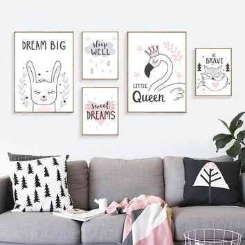 Nordic Wall Art Pictures for Children Room Home Decor Cute Cartoon Canvas Painting Sweet Dreams Posters Prints DH2501