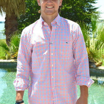 Vineyard Vines Albert Lake Gingham Slim Tucker Shirt- Island Sunset