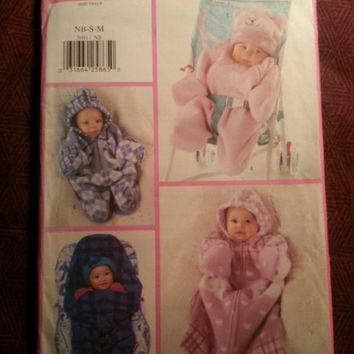 Uncut 1997 Butterick Sewing Pattern, 5091! New Born/Small/Medium/Infant Bunting & Hats/Winter Snuggle Sacque/Fleece Coat/Wrap/Hooded