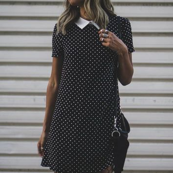 Polka Dot Print Shift Dress