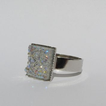 Square Faux Druzy Adjustable Rings