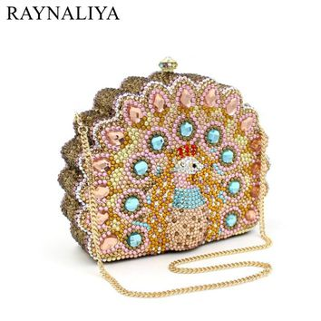 Lady Peacock Shape Fashion Women Party Day Clutches Box Purse Crystal Evening Bags Female Gold Wedding Design SMYZH-F0219