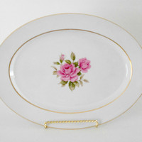 Narumi Japan Sharon Pattern Pink Rose Platter Gold Rimmed Serving Ware 12 inches