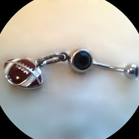 Black Football BellyRing,Sports Jewelry,College football,Athletic Jewelry,Sports Lover,Football Fan,Navel Ring,Ready to Ship,Direct Checkout