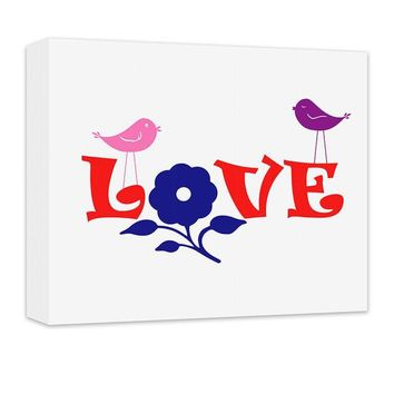 Love with Flower and Little Birdies Canvas Wall Art