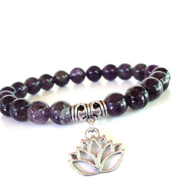 Namaste Mala Bracelet Amethyst Yoga Jewelry Lotus Anniversary Wedding Spiritual Healing Recovery Unique Gift For Her Under 50 Item G25